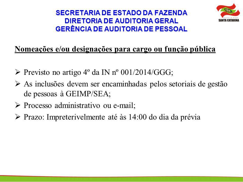 SECRETARIA DE ESTADO DA FAZENDA DIRETORIA DE AUDITORIA GERAL GERÊNCIA DE AUDITORIA DE PESSOAL Nomeações e/ou designações para cargo ou função pública