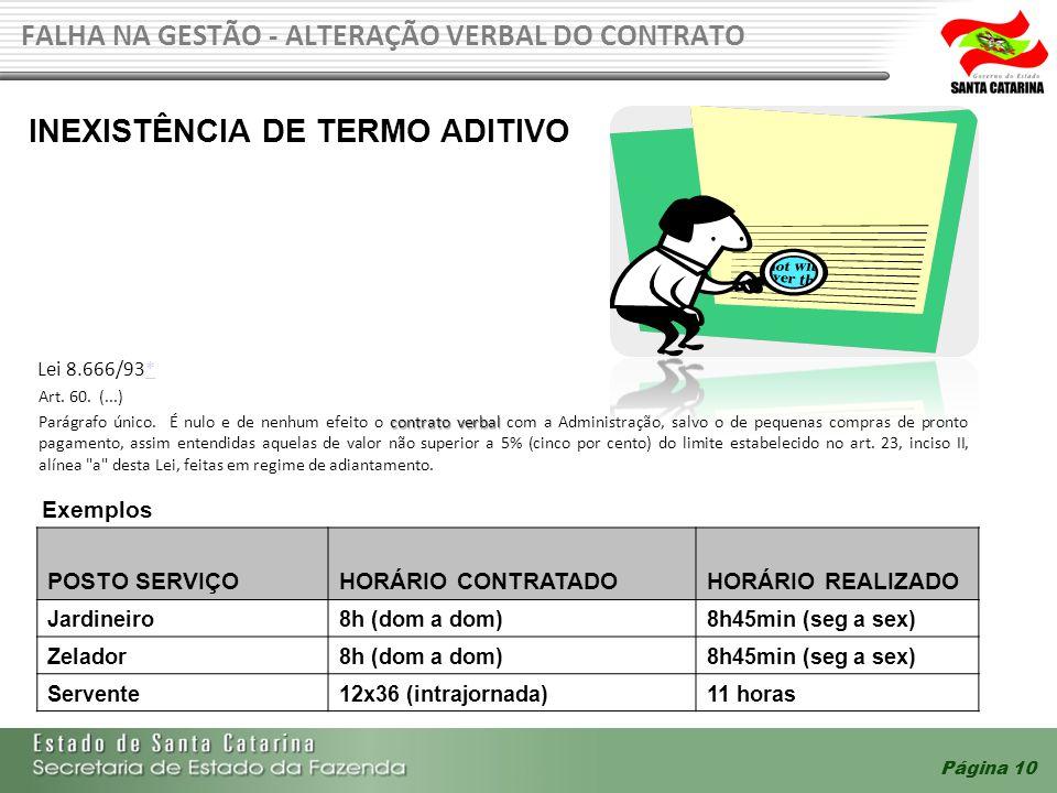 Página 10 FALHA NA GESTÃO - ALTERAÇÃO VERBAL DO CONTRATO POSTO SERVIÇOHORÁRIO CONTRATADOHORÁRIO REALIZADO Jardineiro8h (dom a dom)8h45min (seg a sex)