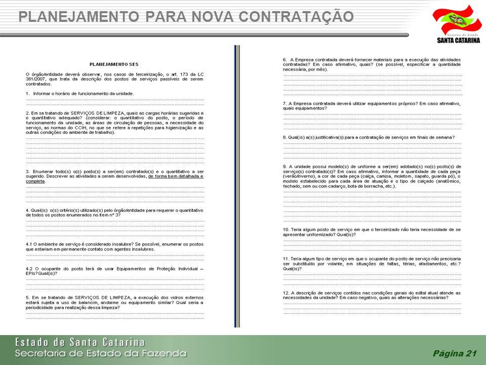 Página 21 PLANEJAMENTO PARA NOVA CONTRATAÇÃO