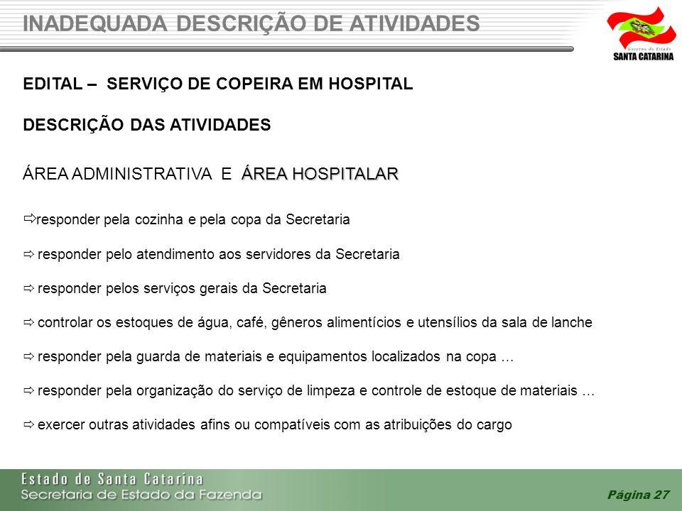 Página 27 INADEQUADA DESCRIÇÃO DE ATIVIDADES EDITAL – SERVIÇO DE COPEIRA EM HOSPITAL DESCRIÇÃO DAS ATIVIDADES ÁREA HOSPITALAR ÁREA ADMINISTRATIVA E ÁR
