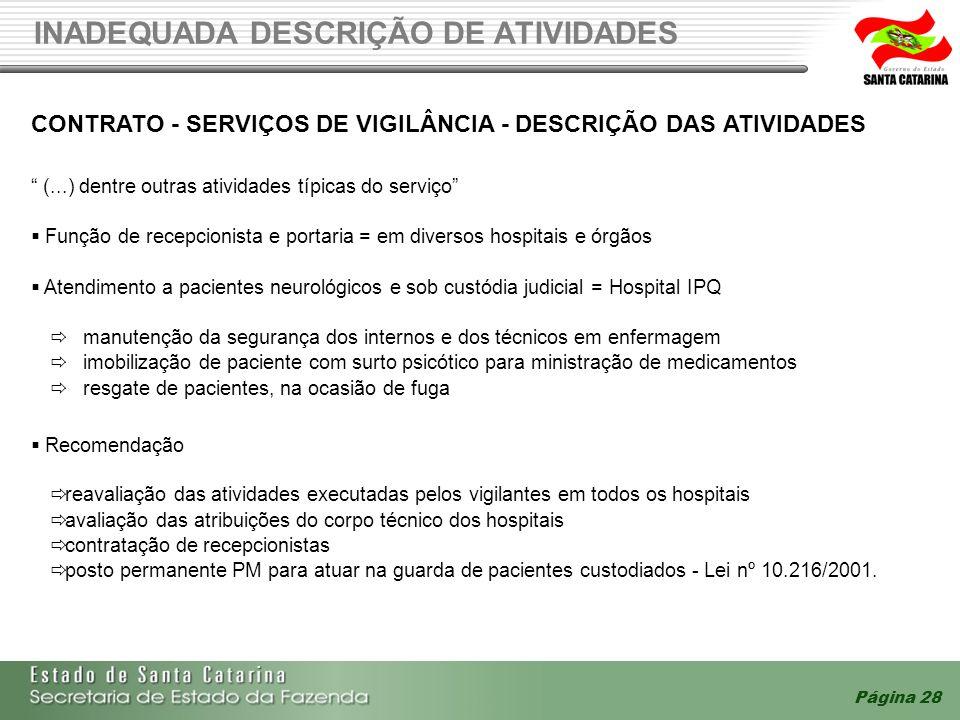 Página 28 INADEQUADA DESCRIÇÃO DE ATIVIDADES CONTRATO - SERVIÇOS DE VIGILÂNCIA - DESCRIÇÃO DAS ATIVIDADES (...) dentre outras atividades típicas do se