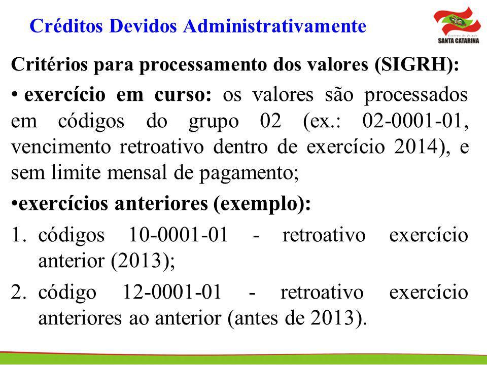 Créditos Devidos Administrativamente Critérios para processamento dos valores (SIGRH): exercício em curso: os valores são processados em códigos do gr