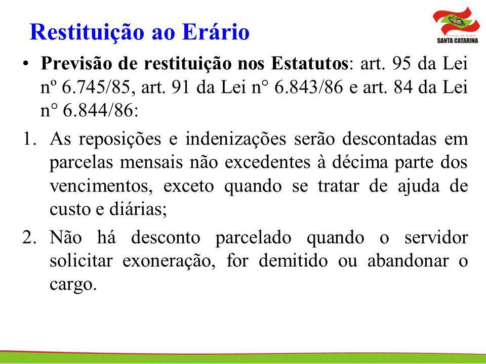 Restituição ao Erário Previsão de restituição nos Estatutos: art. 95 da Lei nº 6.745/85, art. 91 da Lei n° 6.843/86 e art. 84 da Lei n° 6.844/86: 1.As