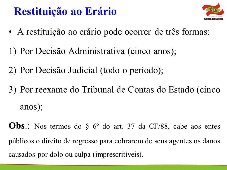 Restituição ao Erário A restituição ao erário pode ocorrer de três formas: 1)Por Decisão Administrativa (cinco anos); 2)Por Decisão Judicial (todo o p