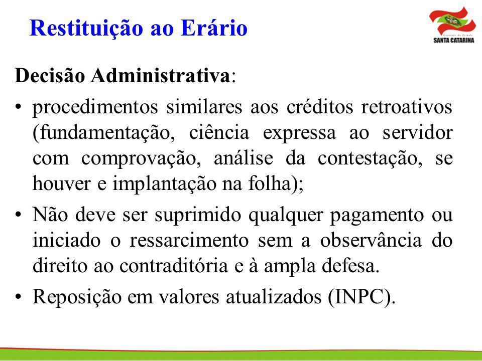 Restituição ao Erário Decisão Administrativa: procedimentos similares aos créditos retroativos (fundamentação, ciência expressa ao servidor com compro
