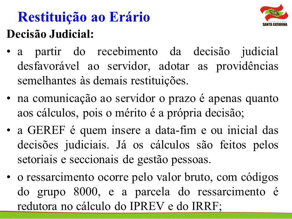 Restituição ao Erário Decisão Judicial: a partir do recebimento da decisão judicial desfavorável ao servidor, adotar as providências semelhantes às de