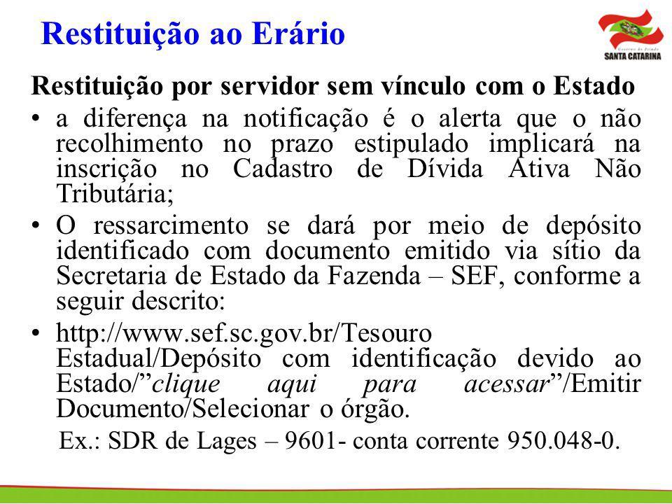 Restituição ao Erário Restituição por servidor sem vínculo com o Estado a diferença na notificação é o alerta que o não recolhimento no prazo estipula