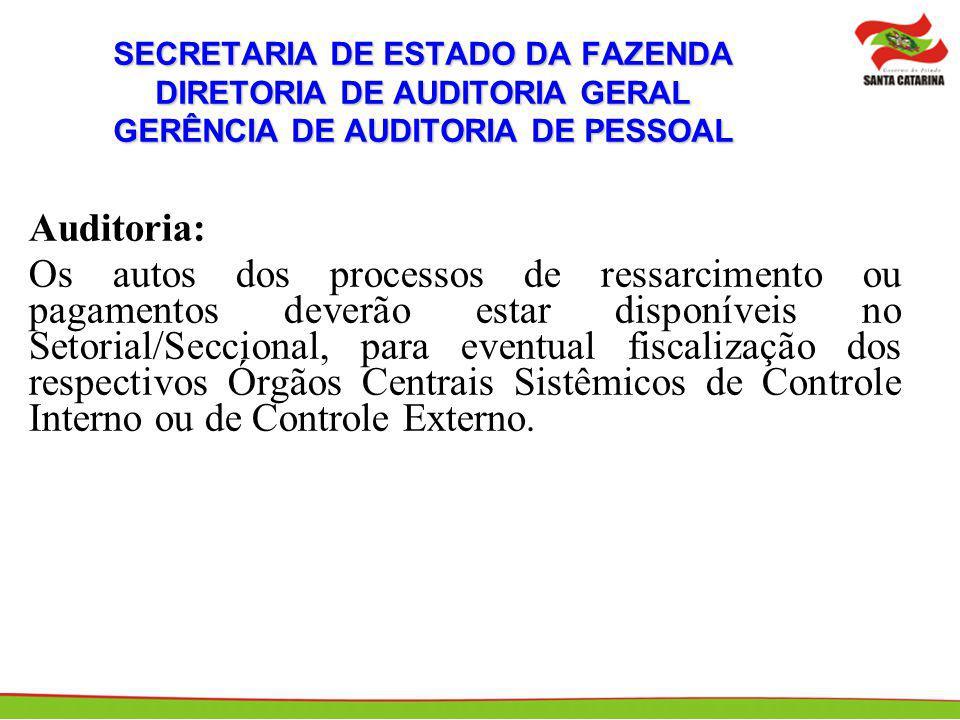 SECRETARIA DE ESTADO DA FAZENDA DIRETORIA DE AUDITORIA GERAL GERÊNCIA DE AUDITORIA DE PESSOAL Auditoria: Os autos dos processos de ressarcimento ou pa