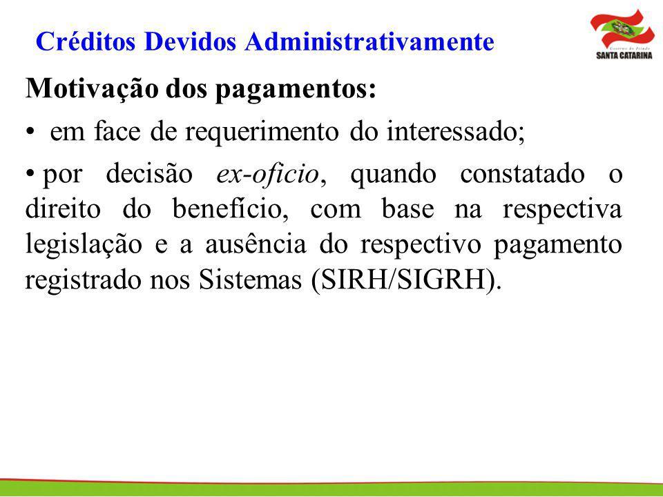 Créditos Devidos Administrativamente Motivação dos pagamentos: em face de requerimento do interessado; por decisão ex-oficio, quando constatado o dire