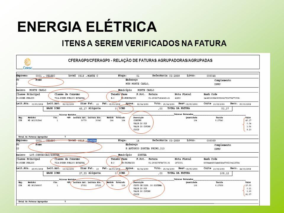 ENERGIA ELÉTRICA ITENS A SEREM VERIFICADOS NA FATURA