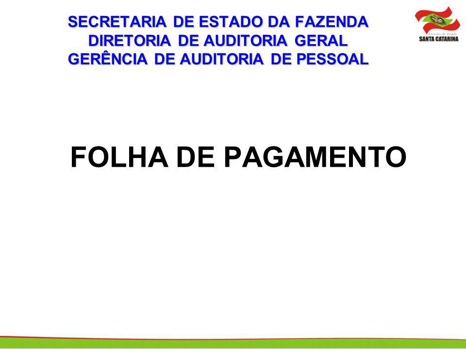 SECRETARIA DE ESTADO DA FAZENDA DIRETORIA DE AUDITORIA GERAL GERÊNCIA DE AUDITORIA DE PESSOAL FOLHA DE PAGAMENTO