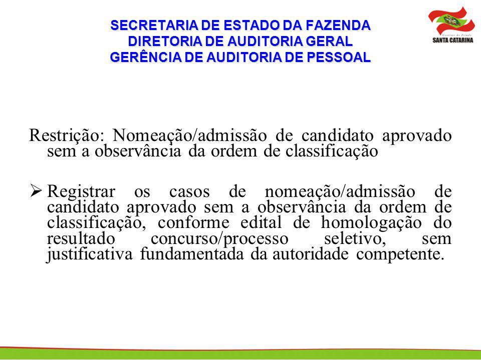 SECRETARIA DE ESTADO DA FAZENDA DIRETORIA DE AUDITORIA GERAL GERÊNCIA DE AUDITORIA DE PESSOAL Restrição: Nomeação/admissão de candidato aprovado sem a