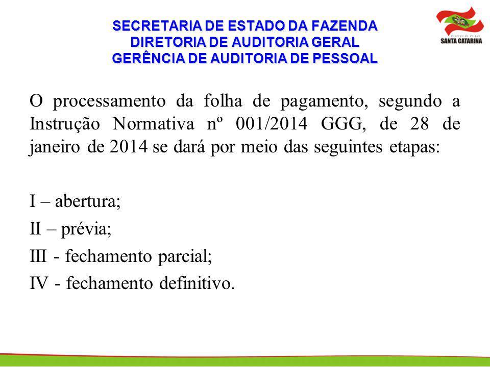 SECRETARIA DE ESTADO DA FAZENDA DIRETORIA DE AUDITORIA GERAL GERÊNCIA DE AUDITORIA DE PESSOAL O processamento da folha de pagamento, segundo a Instruç