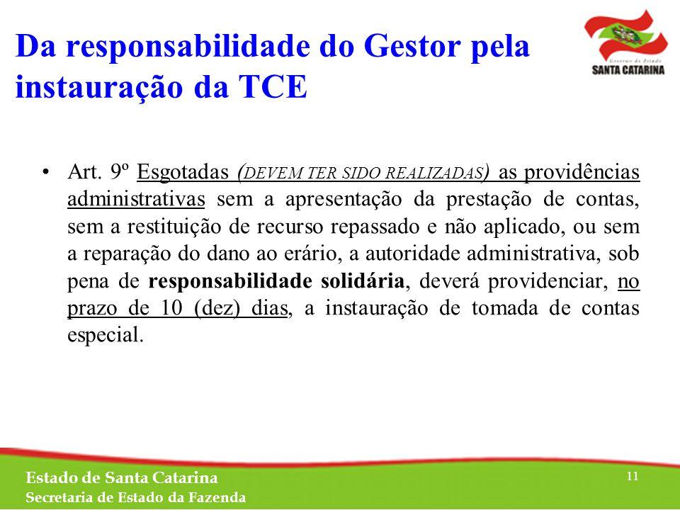 Da responsabilidade do Gestor pela instauração da TCE Art.