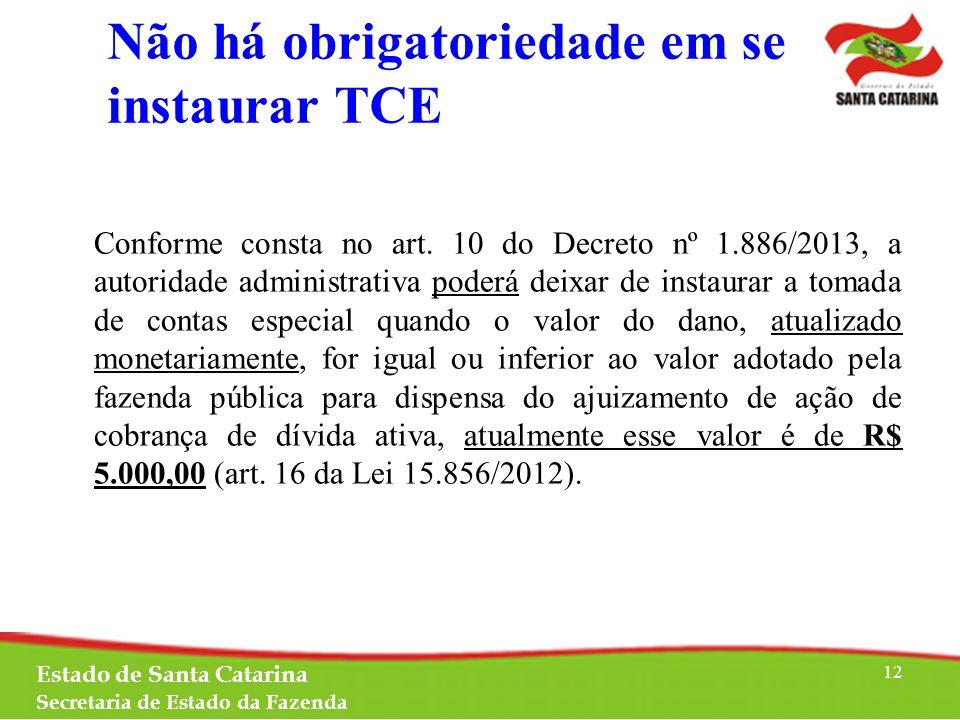 Não há obrigatoriedade em se instaurar TCE Conforme consta no art.