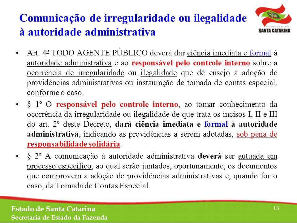 Comunicação de irregularidade ou ilegalidade à autoridade administrativa Art.