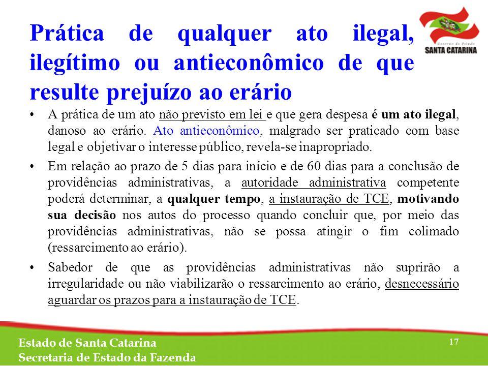 Prática de qualquer ato ilegal, ilegítimo ou antieconômico de que resulte prejuízo ao erário A prática de um ato não previsto em lei e que gera despesa é um ato ilegal, danoso ao erário.