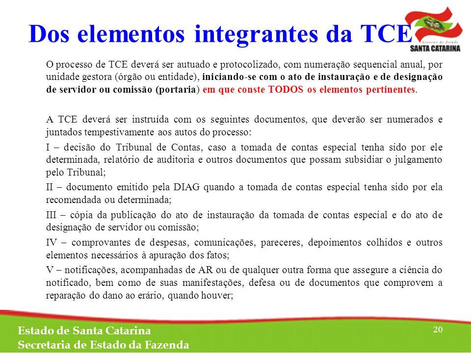 Dos elementos integrantes da TCE O processo de TCE deverá ser autuado e protocolizado, com numeração sequencial anual, por unidade gestora (órgão ou entidade), iniciando-se com o ato de instauração e de designação de servidor ou comissão (portaria) em que conste TODOS os elementos pertinentes.