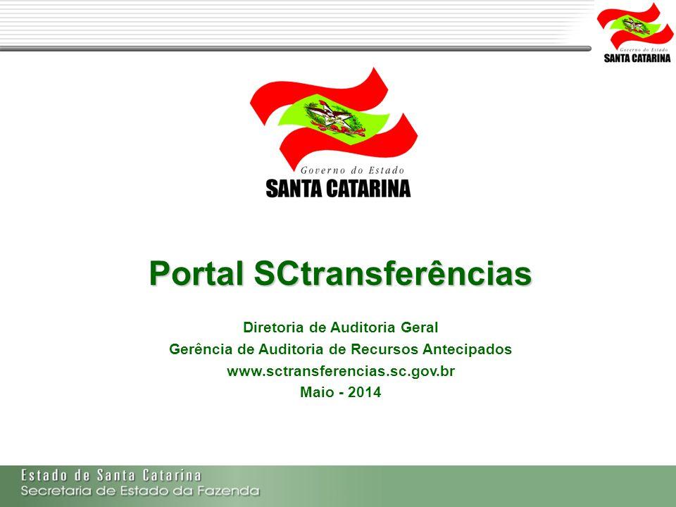 Secretaria de Estado da Fazenda de Santa Catarina – SEF/SC Indra Politec Portal SCtransferências Diretoria de Auditoria Geral Gerência de Auditoria de