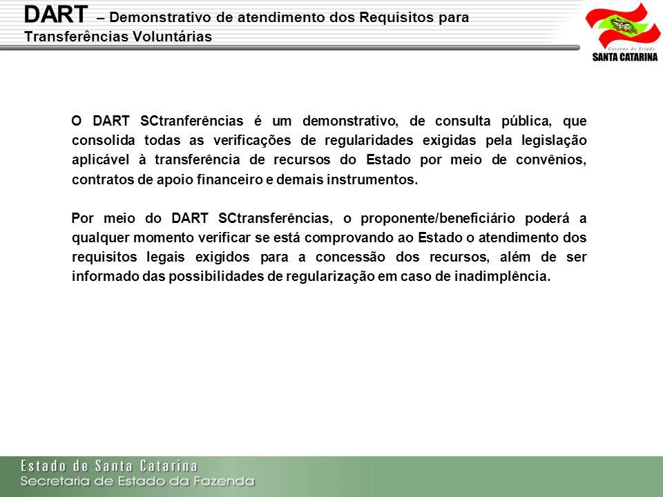 Secretaria de Estado da Fazenda de Santa Catarina – SEF/SC Indra Politec O DART SCtranferências é um demonstrativo, de consulta pública, que consolida