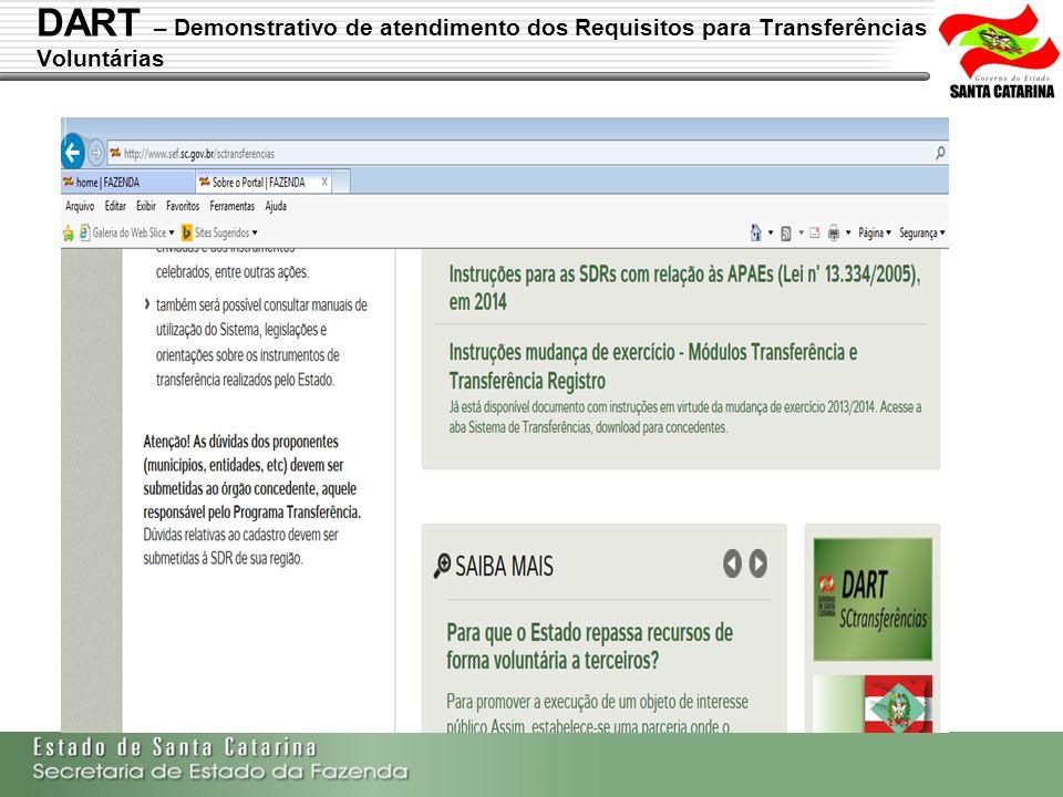 Secretaria de Estado da Fazenda de Santa Catarina – SEF/SC Indra Politec DART – Demonstrativo de atendimento dos Requisitos para Transferências Volunt