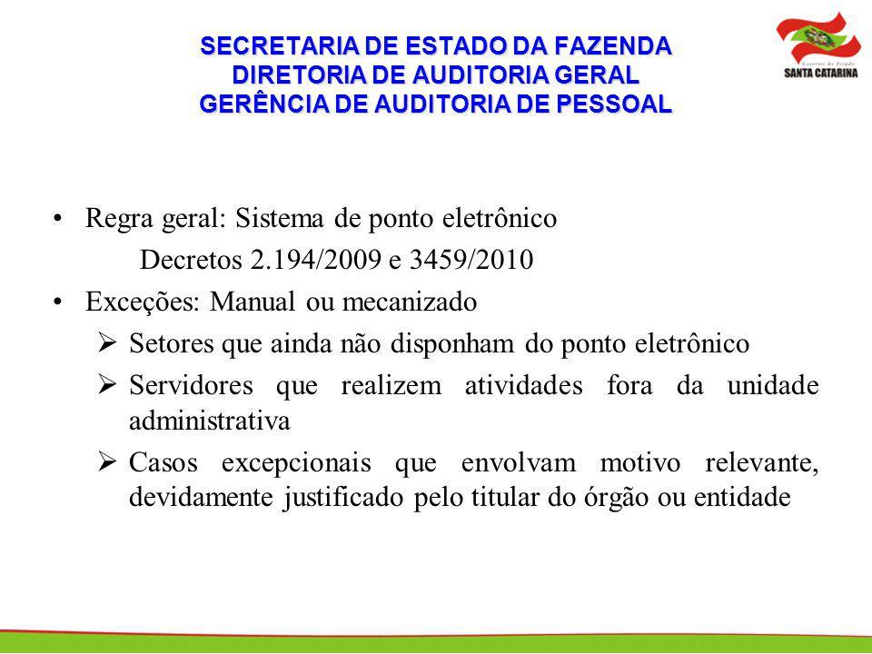 SECRETARIA DE ESTADO DA FAZENDA DIRETORIA DE AUDITORIA GERAL GERÊNCIA DE AUDITORIA DE PESSOAL Regra geral: Sistema de ponto eletrônico Decretos 2.194/
