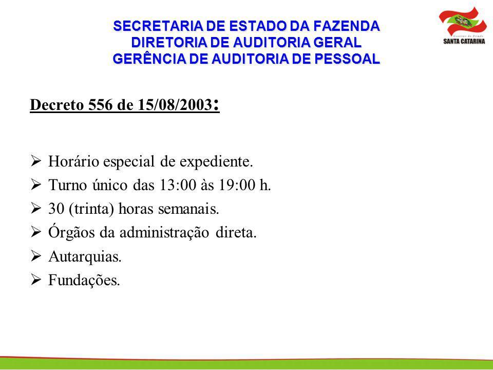 SECRETARIA DE ESTADO DA FAZENDA DIRETORIA DE AUDITORIA GERAL GERÊNCIA DE AUDITORIA DE PESSOAL Serviços excluídos do horário especial: Essenciais ao interesse público.