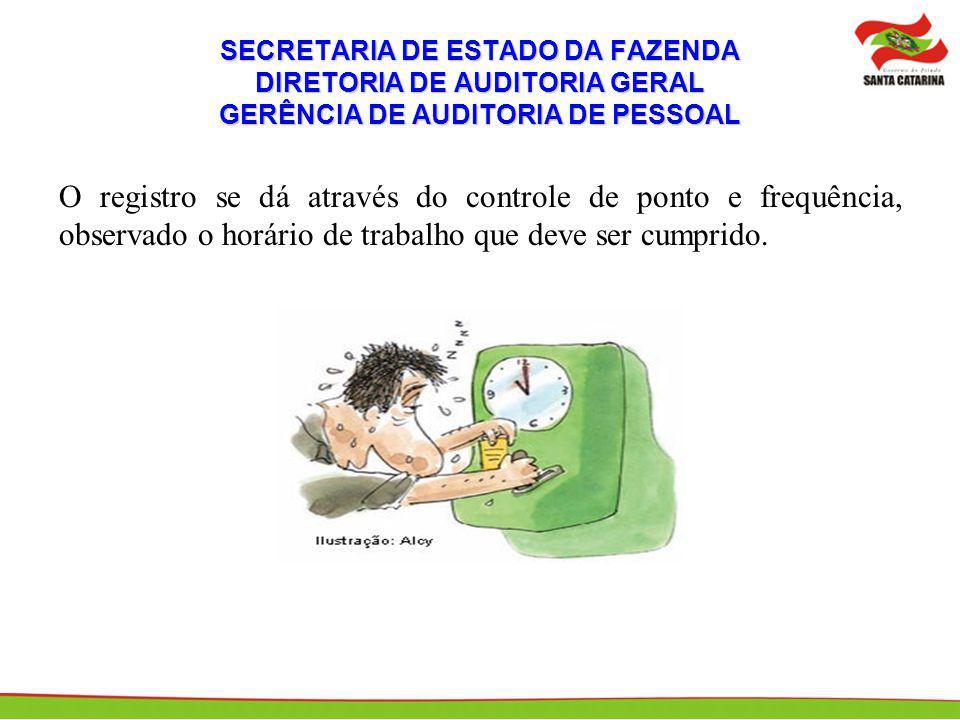 SECRETARIA DE ESTADO DA FAZENDA DIRETORIA DE AUDITORIA GERAL GERÊNCIA DE AUDITORIA DE PESSOAL O registro se dá através do controle de ponto e frequênc