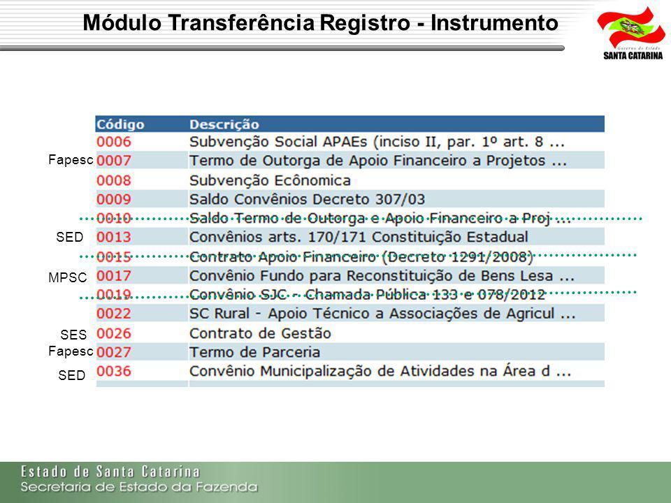Módulo Transferência Registro - Instrumento Fapesc SES SED MPSC SED
