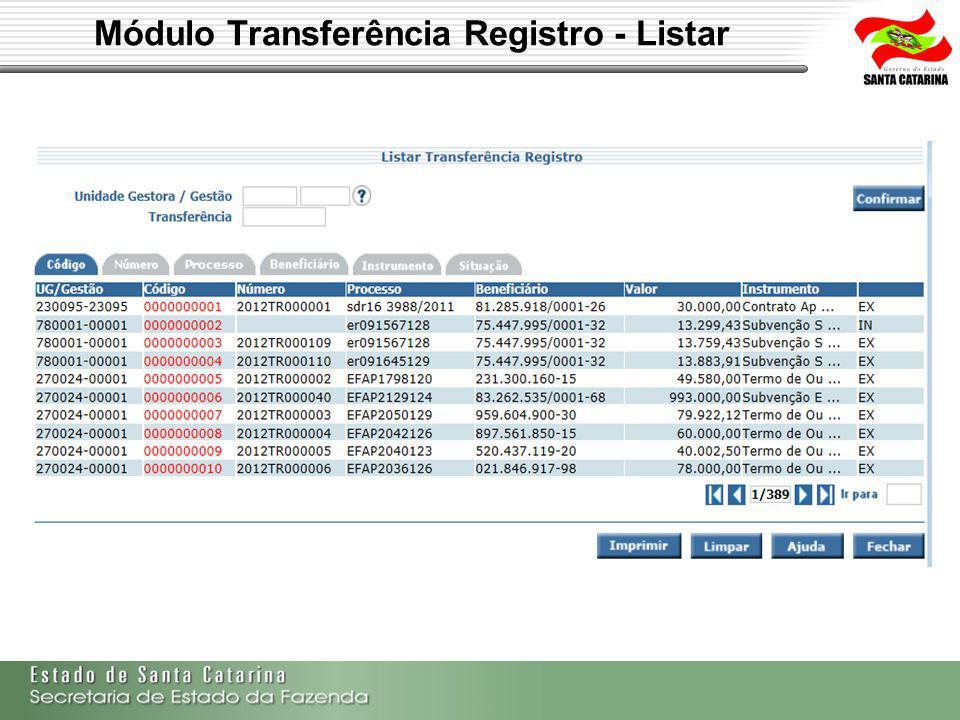 Módulo Transferência Registro - Listar