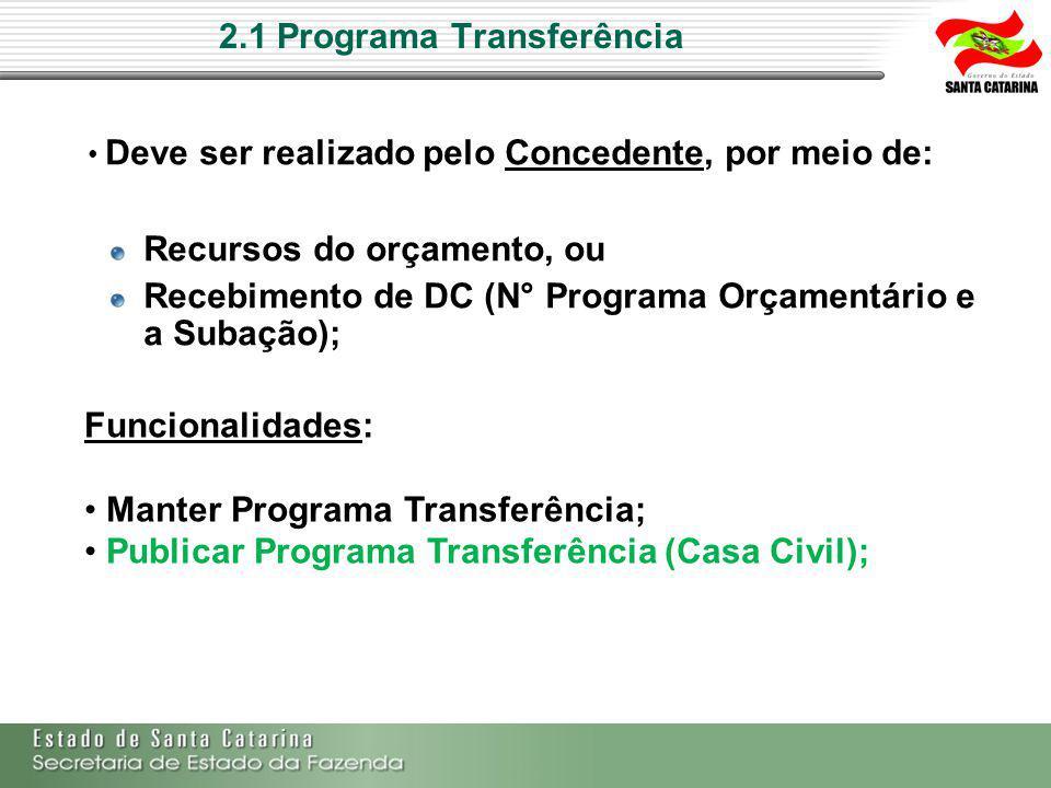 2.1 Programa Transferência Deve ser realizado pelo Concedente, por meio de: Recursos do orçamento, ou Recebimento de DC (N° Programa Orçamentário e a Subação); Funcionalidades: Manter Programa Transferência; Publicar Programa Transferência (Casa Civil);