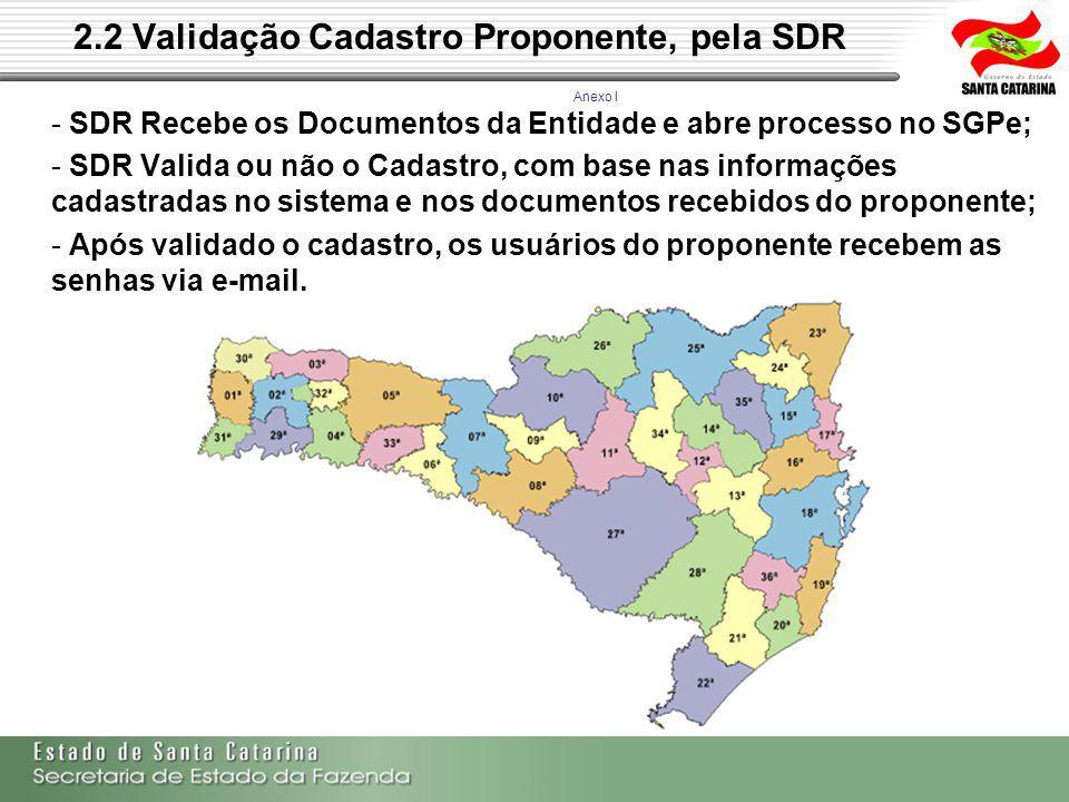2.2 Validação Cadastro Proponente, pela SDR - SDR Recebe os Documentos da Entidade e abre processo no SGPe; - SDR Valida ou não o Cadastro, com base nas informações cadastradas no sistema e nos documentos recebidos do proponente; - Após validado o cadastro, os usuários do proponente recebem as senhas via e-mail.