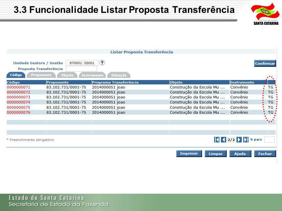 3.3 Funcionalidade Listar Proposta Transferência