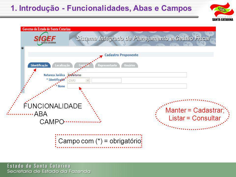 1. Introdução - Funcionalidades, Abas e Campos FUNCIONALIDADE ABA CAMPO Campo com (*) = obrigatório Manter = Cadastrar; Listar = Consultar