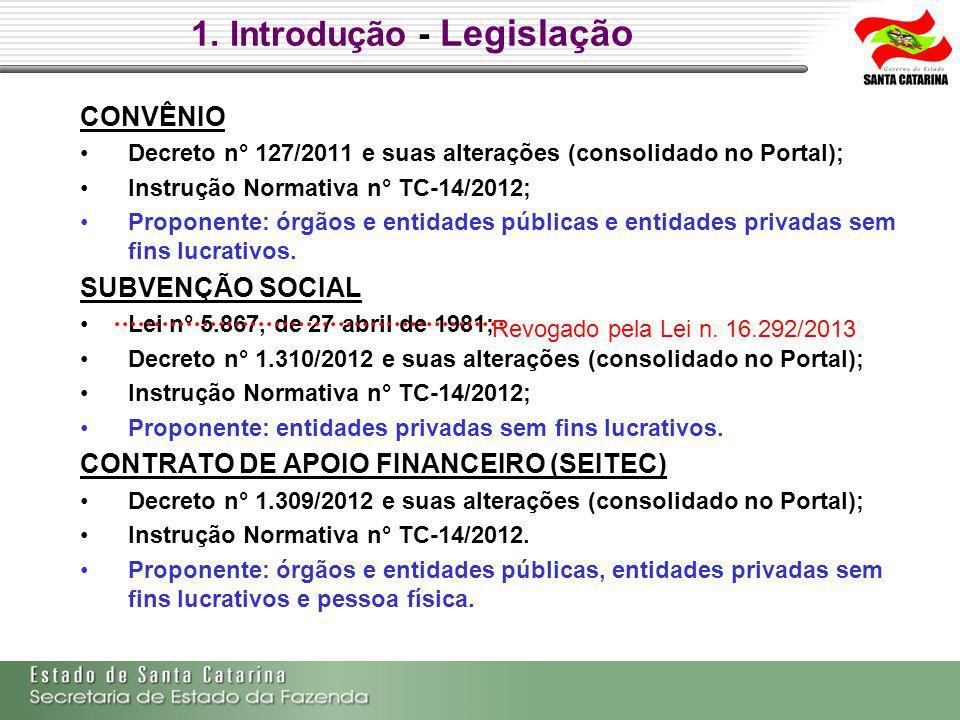 1. Introdução - Legislação CONVÊNIO Decreto n° 127/2011 e suas alterações (consolidado no Portal); Instrução Normativa n° TC-14/2012; Proponente: órgã