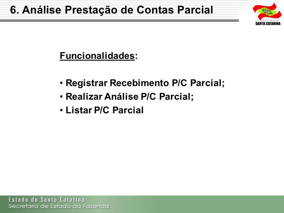 Funcionalidades: Registrar Recebimento P/C Parcial; Realizar Análise P/C Parcial; Listar P/C Parcial