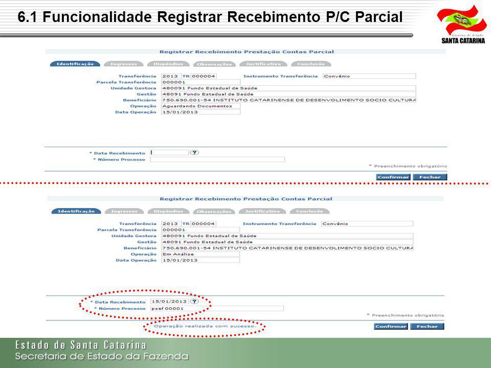 6.2 Funcionalidade Realizar Análise P/C Parcial