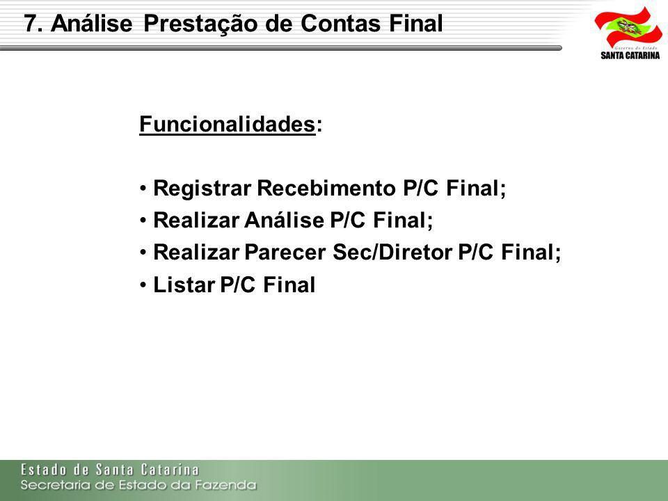 Funcionalidades: Registrar Recebimento P/C Final; Realizar Análise P/C Final; Realizar Parecer Sec/Diretor P/C Final; Listar P/C Final
