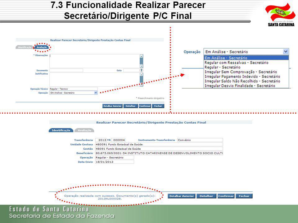 7.3 Funcionalidade Realizar Parecer Secretário/Dirigente P/C Final