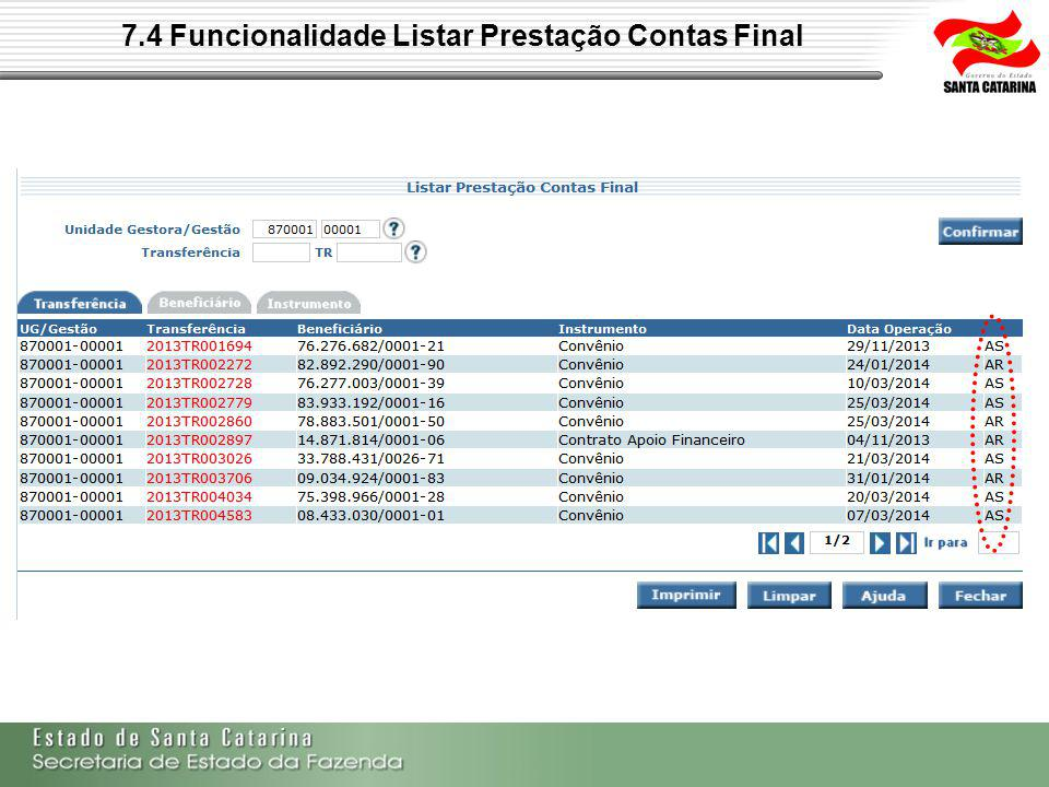 7.4 Funcionalidade Listar Prestação Contas Final