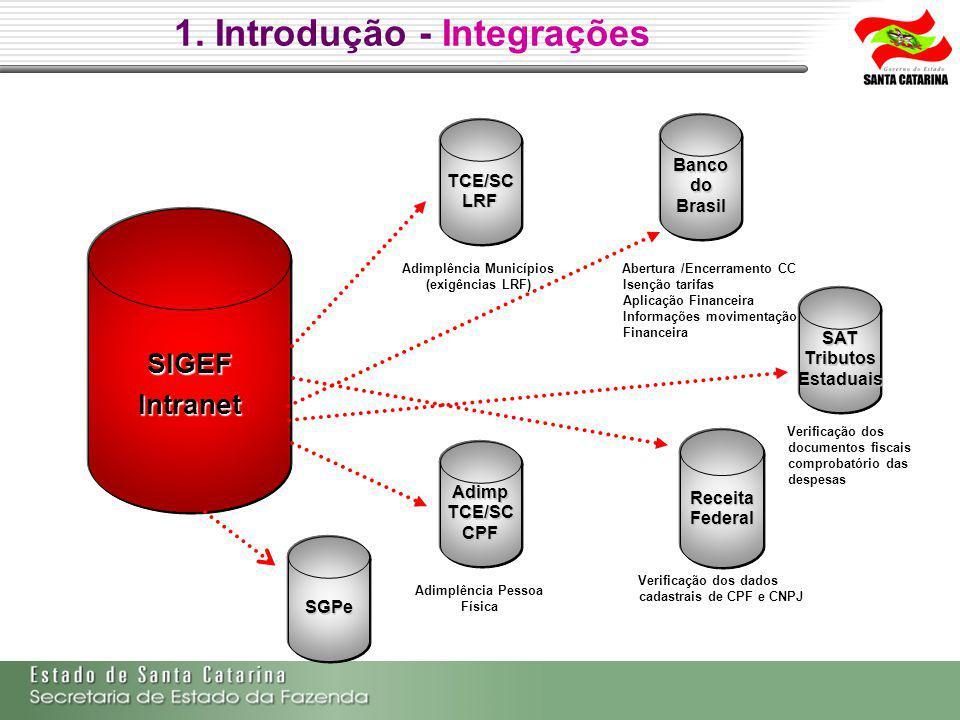 TCE/SCLRF SATTributosEstaduais AdimpTCE/SCCPF BancodoBrasil ReceitaFederal SIGEFIntranet 1.