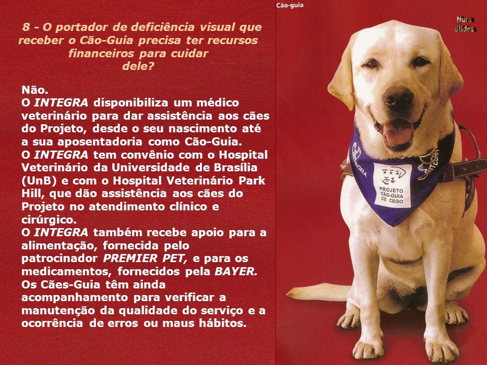 8 - O portador de deficiência visual que receber o Cão-Guia precisa ter recursos financeiros para cuidar dele.