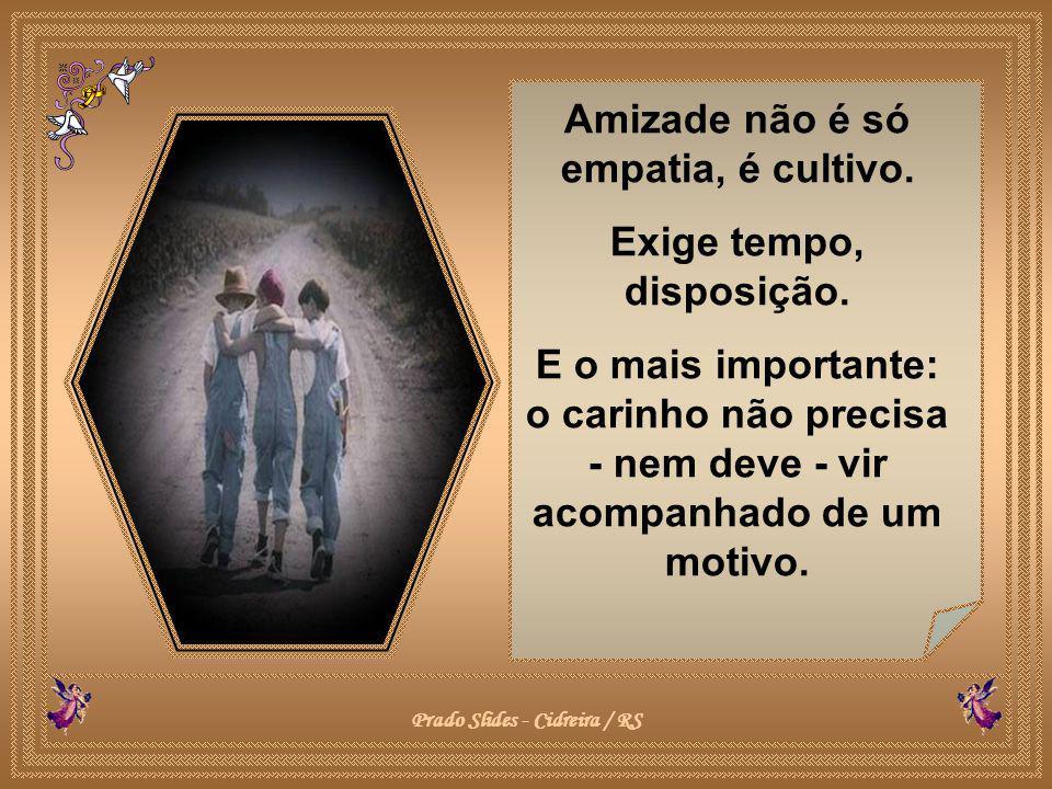 Amizade não é só empatia, é cultivo.Exige tempo, disposição.