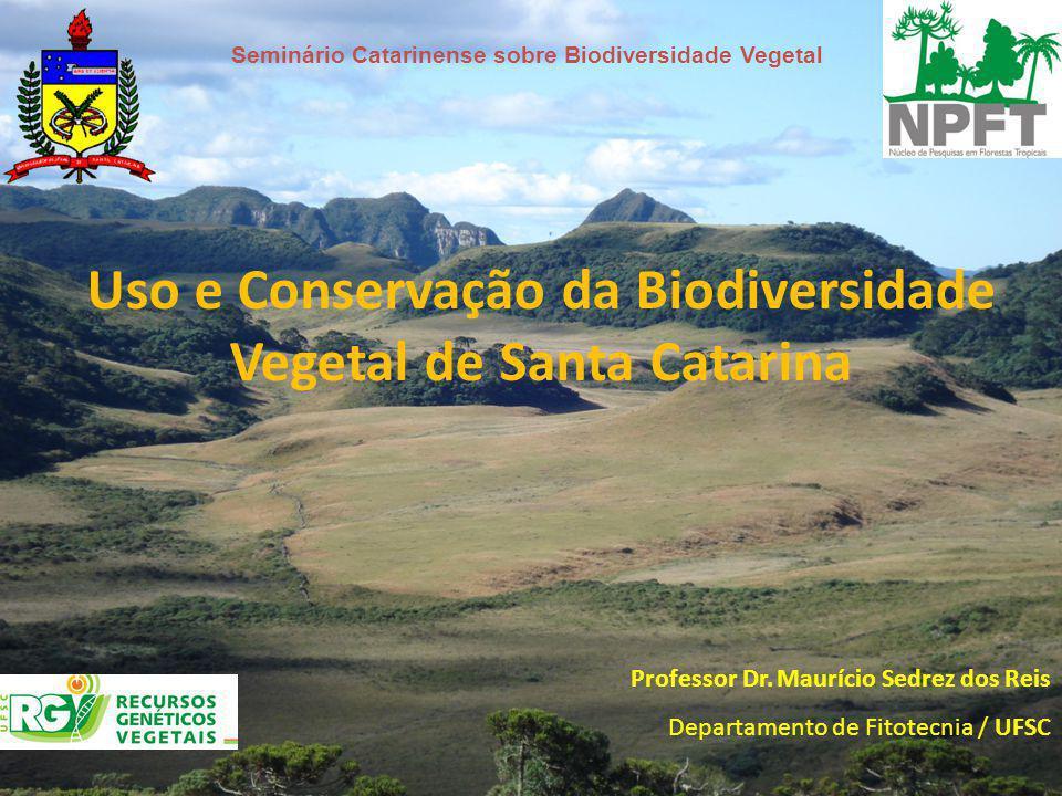Seminário Catarinense sobre Biodiversidade Vegetal Uso e Conservação da Biodiversidade Vegetal de Santa Catarina Professor Dr. Maurício Sedrez dos Rei
