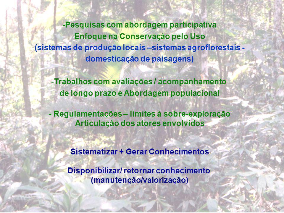-Pesquisas com abordagem participativa Enfoque na Conservação pelo Uso (sistemas de produção locais –sistemas agroflorestais - domesticação de paisage