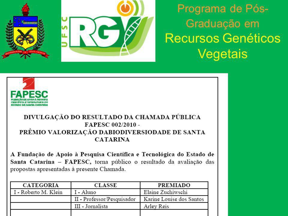 Programa de Pós- Graduação em Recursos Genéticos Vegetais