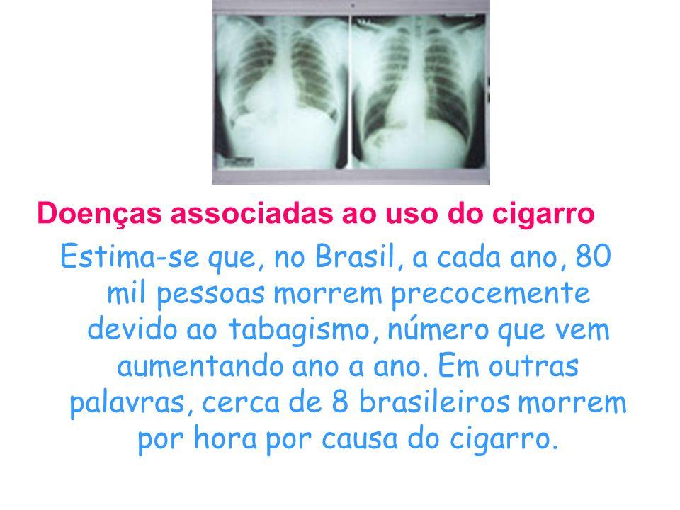 Doenças associadas ao uso do cigarro Estima-se que, no Brasil, a cada ano, 80 mil pessoas morrem precocemente devido ao tabagismo, número que vem aumentando ano a ano.