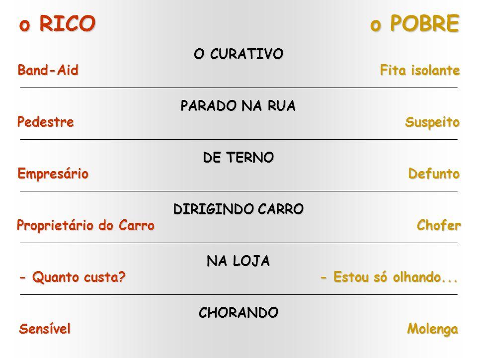 o RICO o POBRE O CURATIVO Band-Aid Fita isolante PARADO NA RUA Pedestre Suspeito DIRIGINDO CARRO Proprietário do Carro Chofer NA LOJA - Quanto custa.