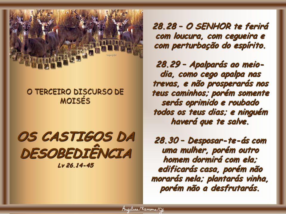 O TERCEIRO DISCURSO DE MOISÉS OS CASTIGOS DA DESOBEDIÊNCIA Lv 26.14-45 28.25 – O SENHOR te fará cair diante dos teus inimigos; por um caminho, sairás