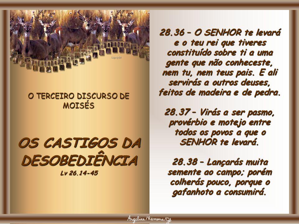 O TERCEIRO DISCURSO DE MOISÉS OS CASTIGOS DA DESOBEDIÊNCIA Lv 26.14-45 28.33 – O fruto da tua terra e todo o teu trabalho, comê- los-á um povo que nun